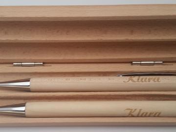 Schreibset Kugelschreiber u. Druckbleistift aus Birke