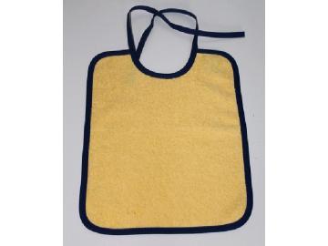 Lätzchen 30 x 25 cm gelb mit Rand blau