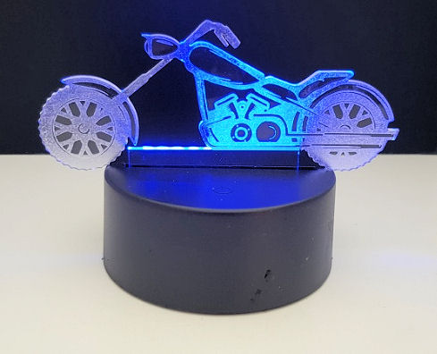 Motorrad aus Acryl mit Fuß