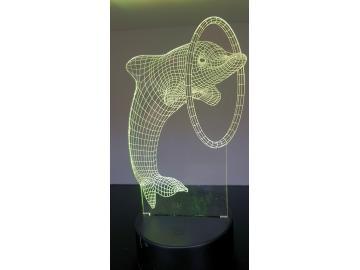 LED Bild Delphin Tischlampe Nachtlampe Kinderzimmer USB Geschenk Dekor