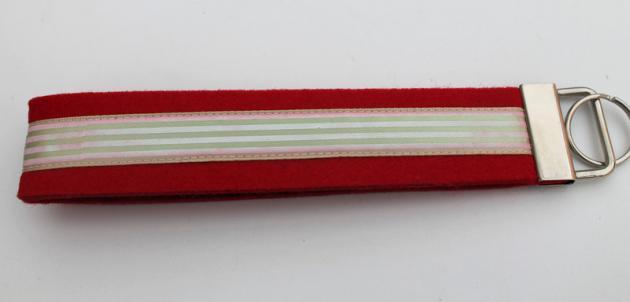Schlüsselband Filz rot mit Bordüre