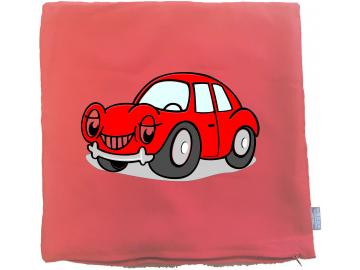 Kissenbezug 40 x 40 cm rot mit Auto