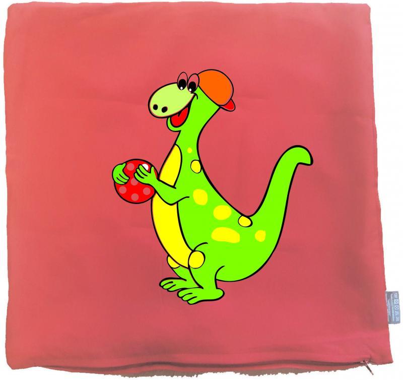 Kissenbezug 40 x 40 cm rot mit Dino
