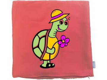 Kissenbezug 40 x 40 cm rot mit Schildkröte