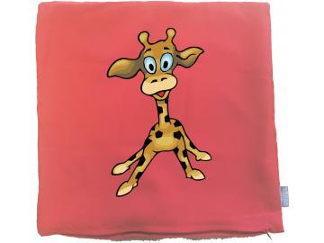 Kissenbezug 40 x 40 cm rot mit Giraffe