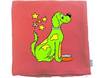 Kissenbezug 40 x 40 cm rot mit Hund