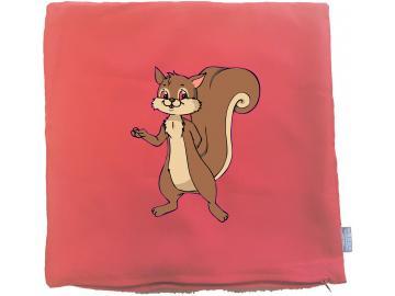 Kissenbezug 40 x 40 cm rot mit Eichhörnchen