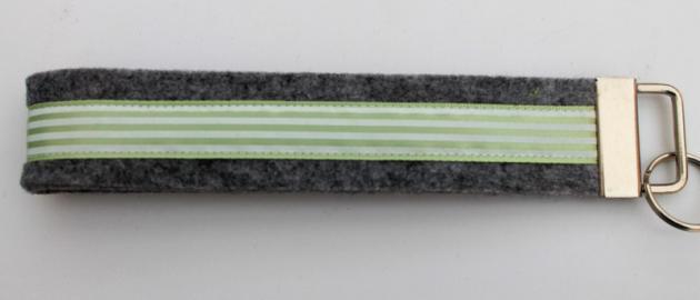 Schlüsselband Filz grau mit Bordüre