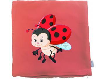 Kissenbezug 40 x 40 cm rot mit Marienkäfer
