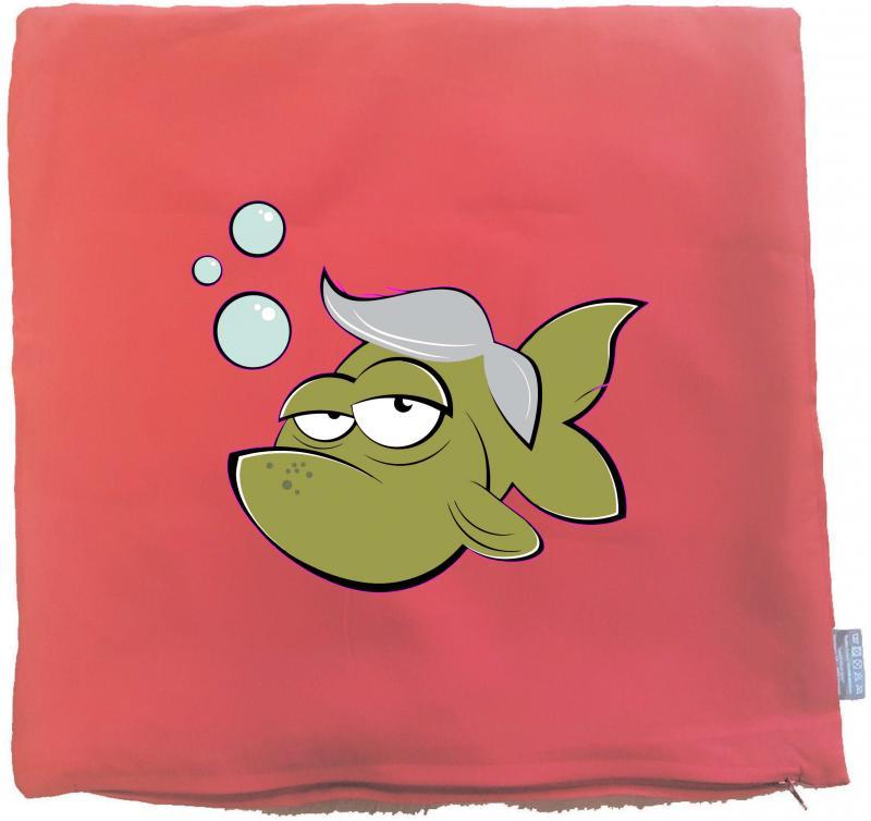 Kissenbezug 40 x 40 cm rot mit Fisch