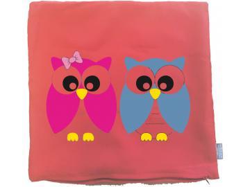 Kissenbezug 40 x 40 cm rot mit Eulenpaar