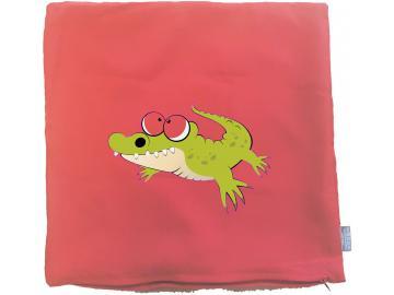 Kissenbezug 40 x 40 cm rot mit Krokodil