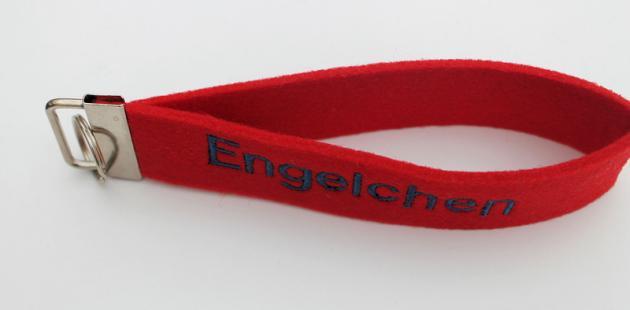 Schlüsselband Filz rot mit Engelchen bestickt