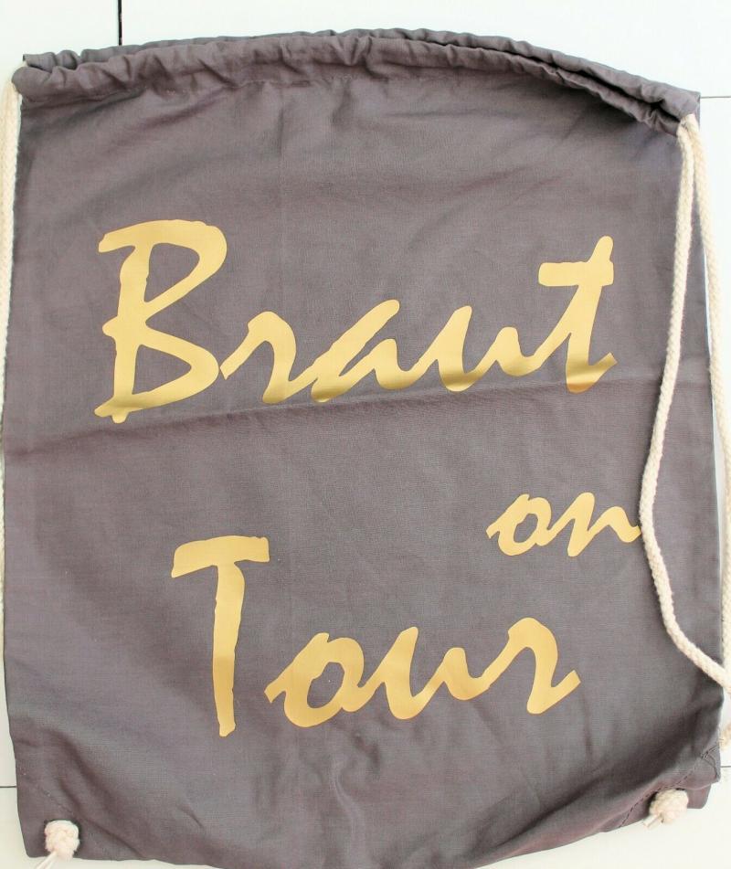 Junggesellinnenabschied Braut on Tour JGA Hipster Rucksack Tasche Beutel Baumwo
