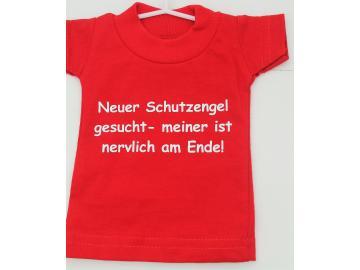Mini T-Shirt Rot mit Spruch Saugnapf und Bügel für PKW, Wohnmobil oder Wohnwagen