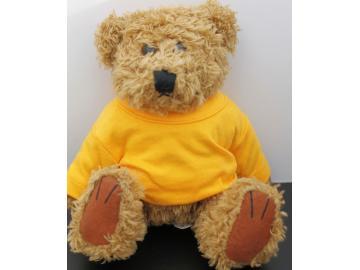 Kuscheliger Teddy Braun Gelbes T-Shirt ohne Druck