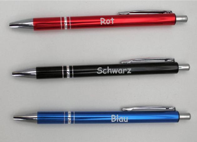 10 Kugelschreiber Metall mit Gravur
