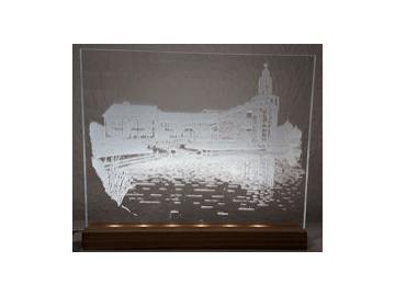 Acrylbild Rathaus Weyhe mit LED Beleuchtung