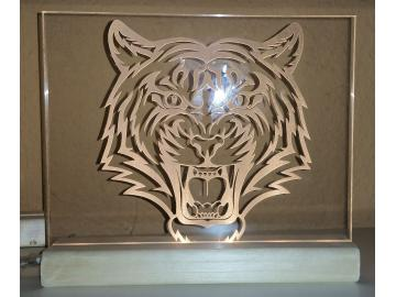 Tigerkopf Acryl mit LED Beleuchtung