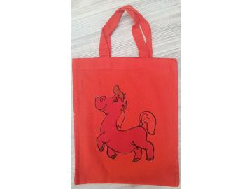 Baumwolltasche 25,5 x 21,5 cm Rot mit Pferd