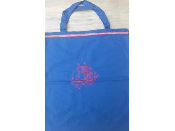 Baumwolltasche Blau mit Segelschiff