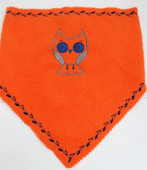 Dreieckstuch orange mit Eule und Wunschstickerei (Namen) ohne Puppe Handarbeit