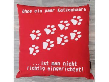 Kissenbezug 40 x 40 cm rot mit Druck Ohne Katzenhaare