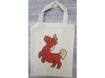 Baumwolltasche 26 x 21 cm Natur mit Pferd
