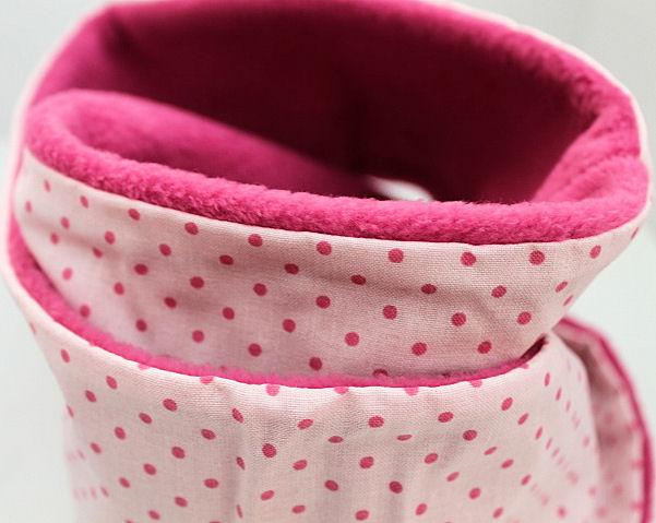 Loopschal Punkte vorne Baumw. Innen Fleece Pink Handarbeit