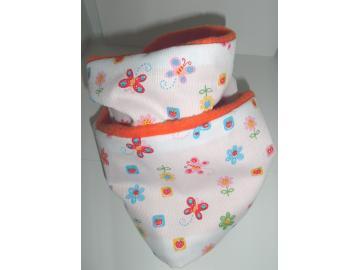 Loopschal, Schmetterlinge und Blumen Vorne Baumw. Innen Fleece orange Handarbeit