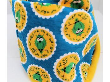 Loopschal Eule Tante Ema Stoff Vorne Baumwolle Innen Fleece gelb Handarbeit