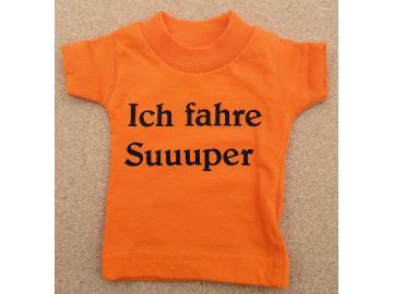 Mini T-Shirt Orange mit Spruch Saugnapf und Bügel für PKW, Wohnmobil oder Wohnwagen