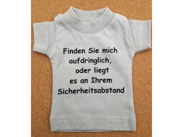 Mini T-Shirt Hellgrau mit Spruch Saugnapf und Bügel für PKW, Wohnmobil oder Wohnwagen