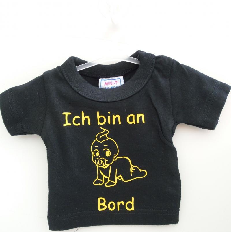 Mini T-Shirt Schwarz mit Spruch Saugnapf und Bügel für PKW, Wohnmobil oder Wohnwagen